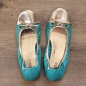 Rialto Teal and Silver Ballet Flats 7M Sunnyside